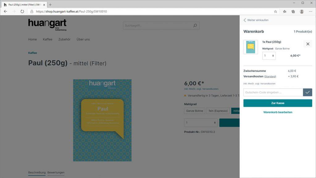 huangart Kaffee Online-Shop - Produkt